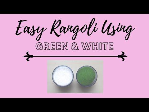    Easy Rangoli Design Using Green And White Color    Shradz Happy Place   