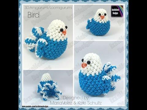 Rainbow Loom Bird Loomigurumi Amigurumi 3D Toy - crochet hook only - loomless