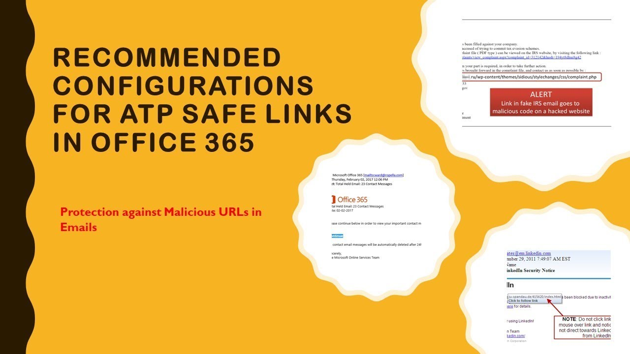 Recommended Configurations for ATP Safe Links - Protect from Malicious URLs