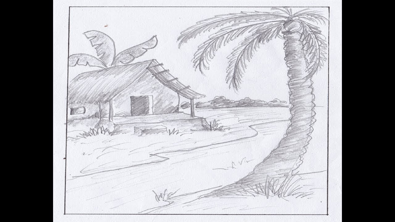 How to draw landscape sketch drawing with pencil simple landscape for beginners pencil drawing