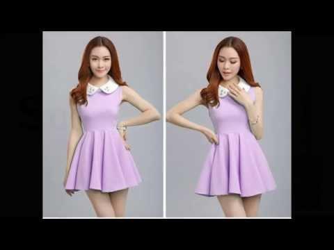 แฟชั่นชุดเดรสทำงานมาใหม่ๆ : ชุดเดรสสั้นสีม่วง ชุดเดรสหวานๆ น่ารักสไตล์เกาหลี