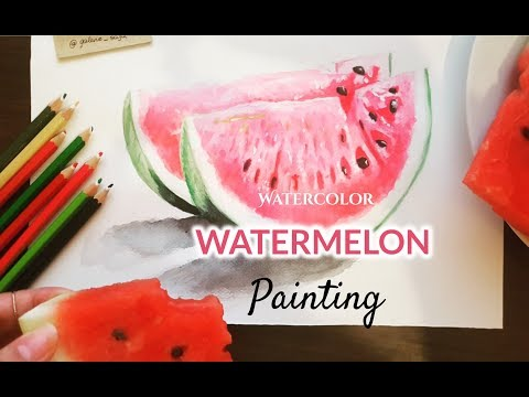 Realistic Watermelon Painting in Watercolors  | REALISTIC ART PAINTING| VIDEO ART DRAWING