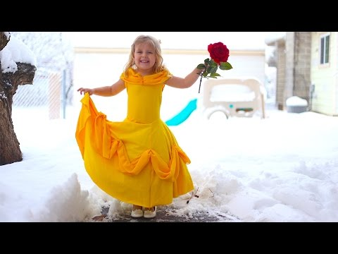 How To Make A Belle Disney Princess Dress For Little Girls From T-Shirts! Easy DIY!