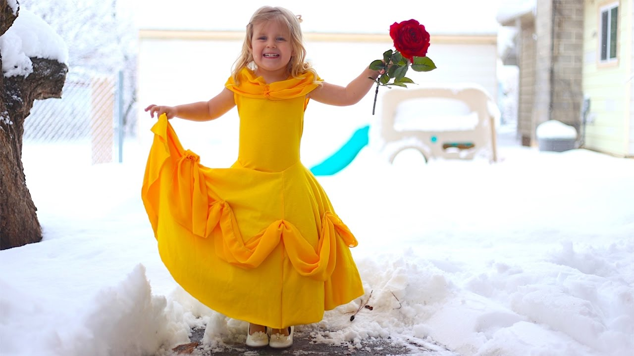 How To Make A Belle Disney Princess Dress For Little Girls From T Shirts!  Easy DIY!