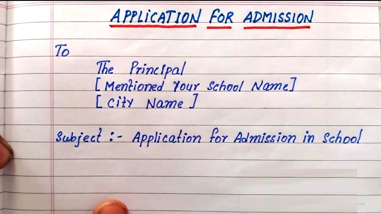application for admission in school  write application for admission   application school principal