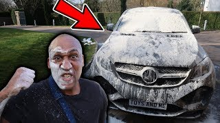 FLOUR BOMB ON MY DADS CAR *PRANK* - ANGRY DAD FLIPS!!