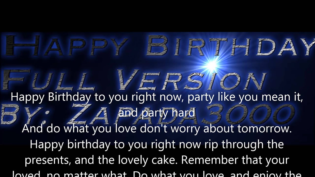 Happy Birthday Lyrics Rap