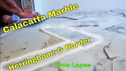 Diagonal Herringbone marble tile Bathroom floor with border. Time Lapse