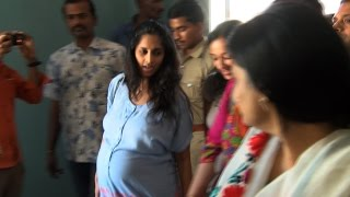 Ajith's Pregnant wife Shalini at Albert theater to watch Yennai Arindhaal with her Family