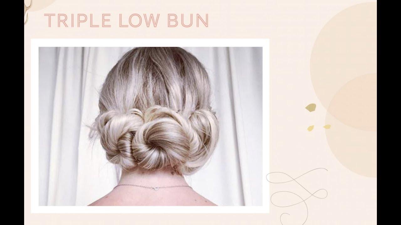 How To Make A Triple Low Bun Diy Hair Tutorial Youtube