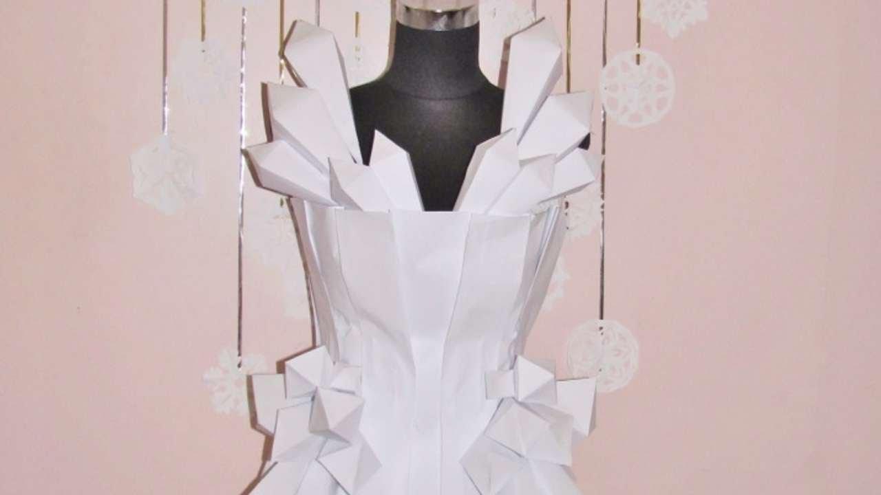Как сделать платье из бумаги своими руками на себя 660