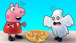 Свинка Пеппа и Джордж - добрые привидения, готовим пиццу.Видео для детей с игрушками