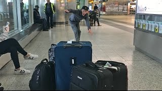SUITCASE BOWLING IN THE AIRPORT!