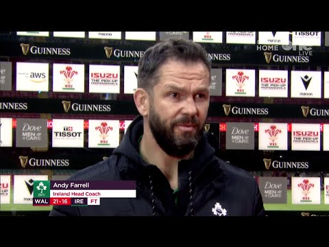 Andy Farrell speaks to Shane Horgan after defeat to Wales.