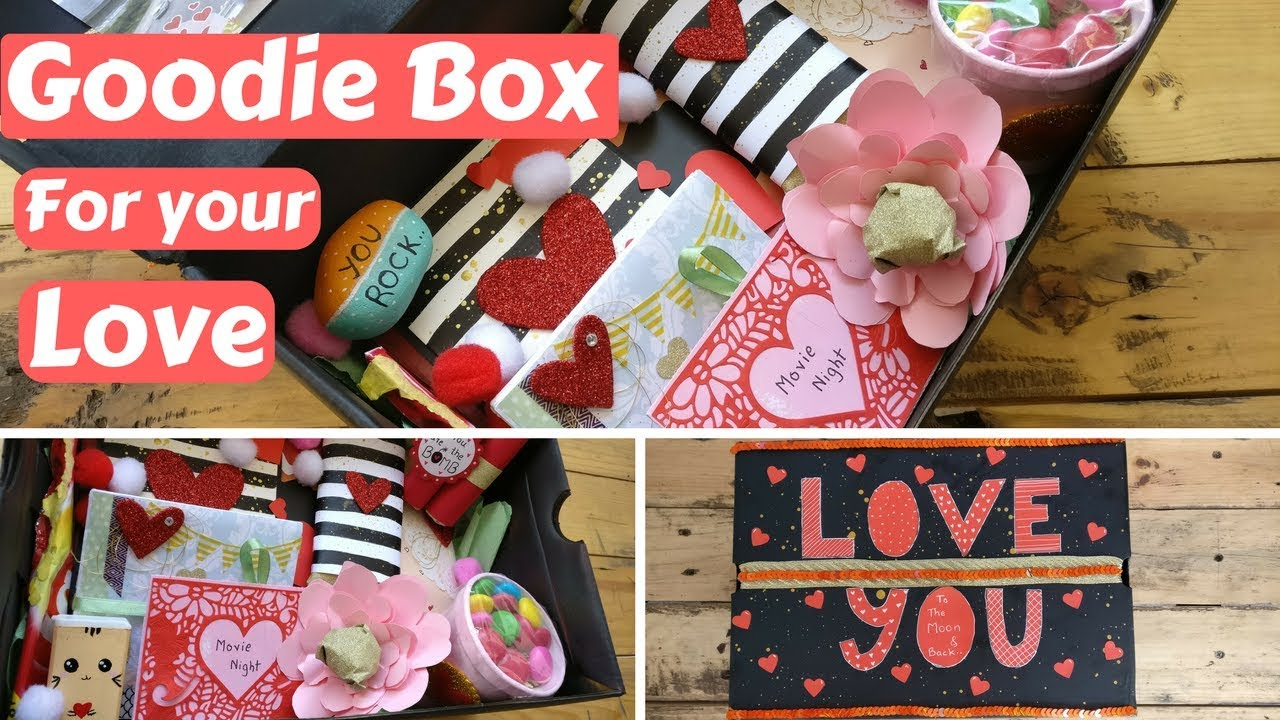 Diy Valentine S Day Birthday Gift Goodie Box Care Package For Your Boyfriend Girlfriend Husband Wife