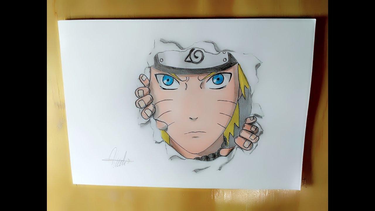 Menggambar naruto dengan efek keluar dari kertas drawing naruto with effect out of paper