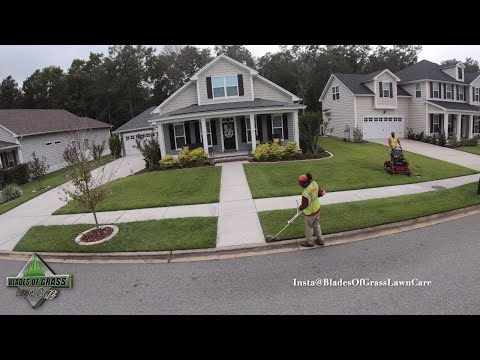 Blades of Grass Lawn Care Crew Cutting Grass [Lawn Mowing Video]