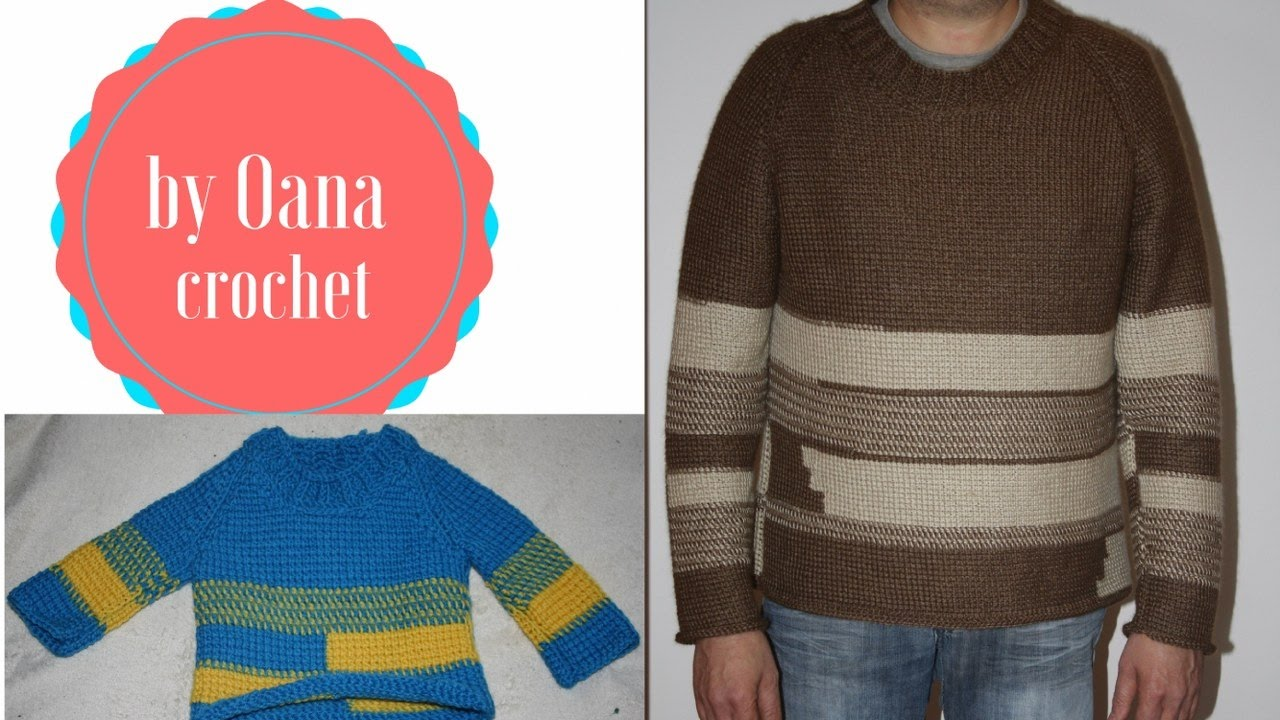 7d850df39ac1 Tunisian crochet sweater for man -by Oana part I