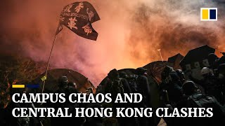Chaos on campuses and Central district in Hong Kong on third consecutive day of serious violence