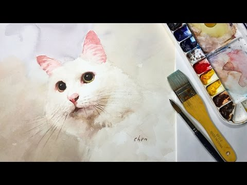 Watercolor Animal Painting: lesson of a white cat