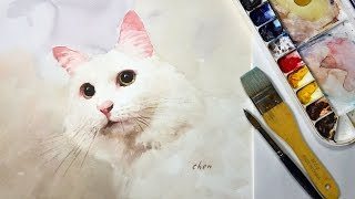 Animals #13 - Watercolor Painting of a White Cat
