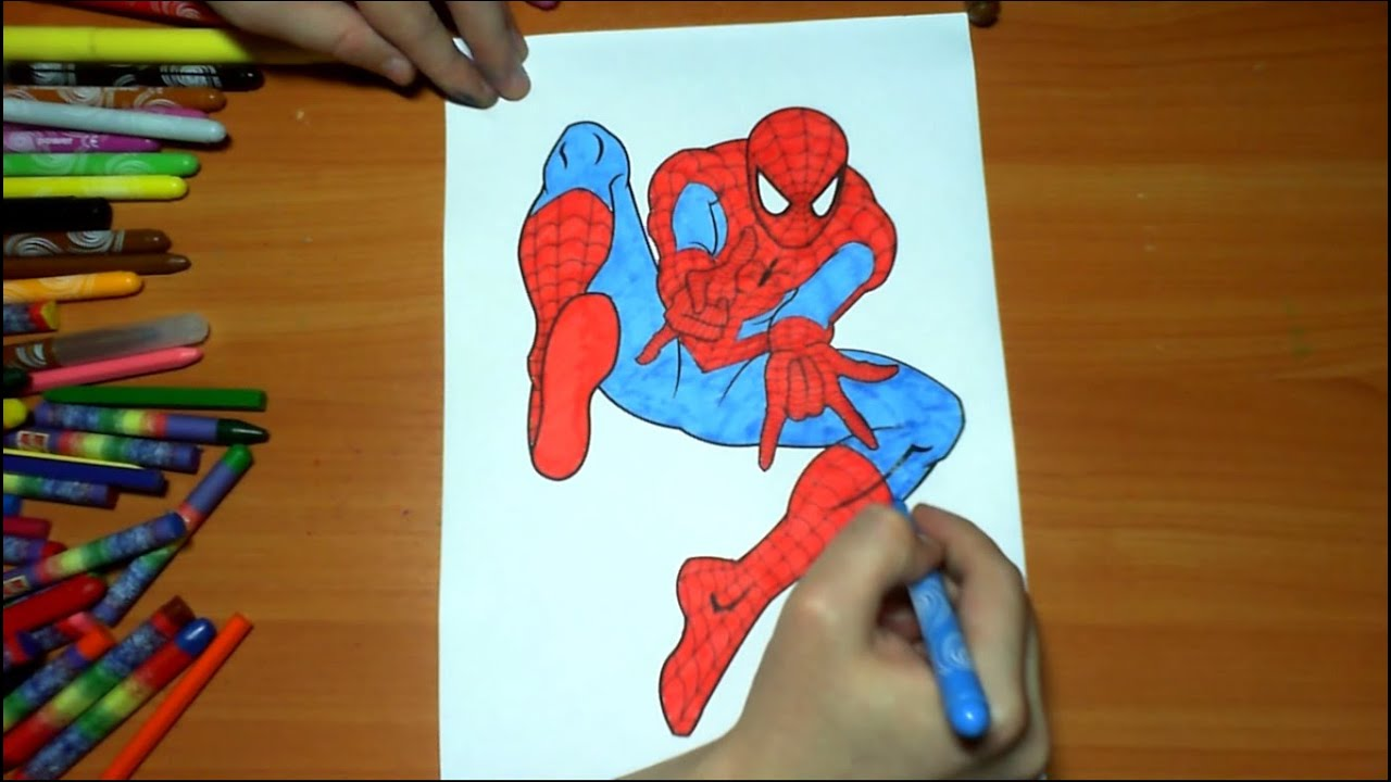 spiderman new coloring pages for kids colors superheroes coloring colored markers felt pens pencils
