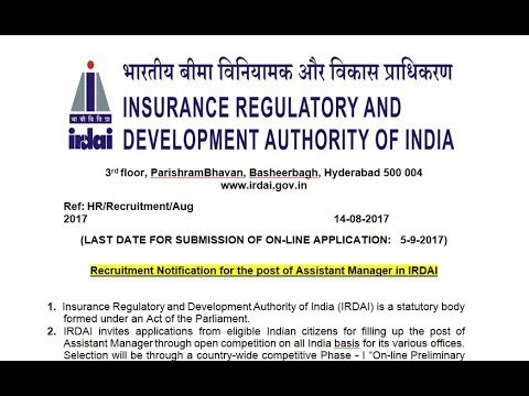 IRDAI RECUIRTMENT FOR THE POST OF ASSISTANT MANAGER