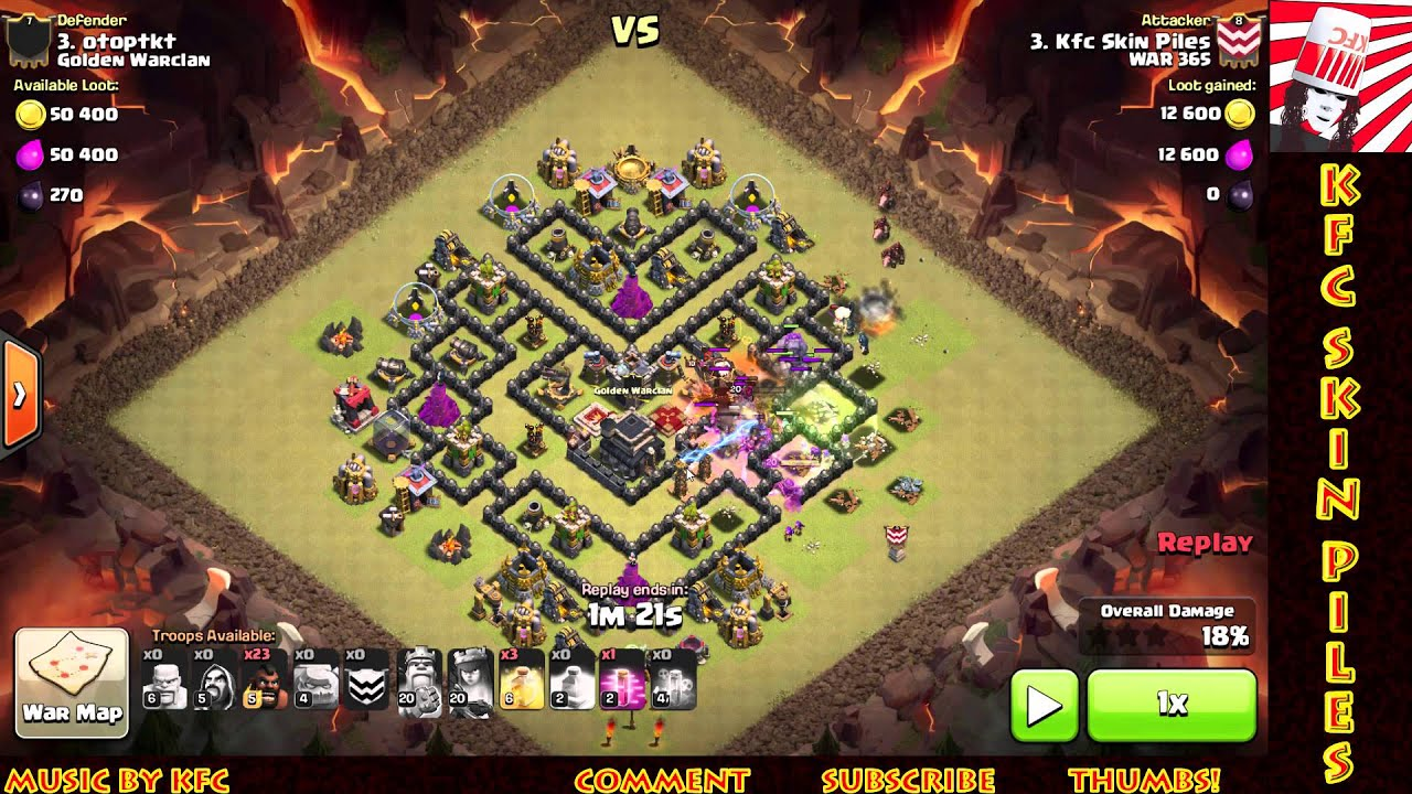 Clash of clans th9 3 star war attack strategy 3 star goho youtube