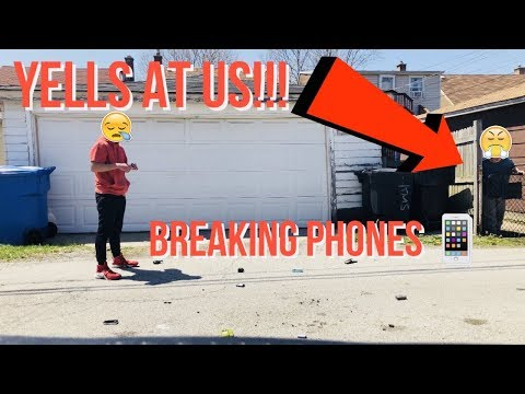 WOMAN YELLS AT US WHILE DESTROYING PHONES!!! | Destroying Phones (Gone Wrong)