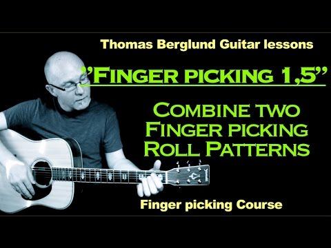"Finger picking Guitar lessons  ""part 1,5"" - Combine two finger picking patterns"