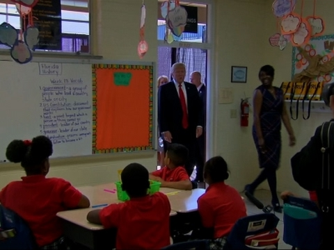 Trump Tours Private School in Florida