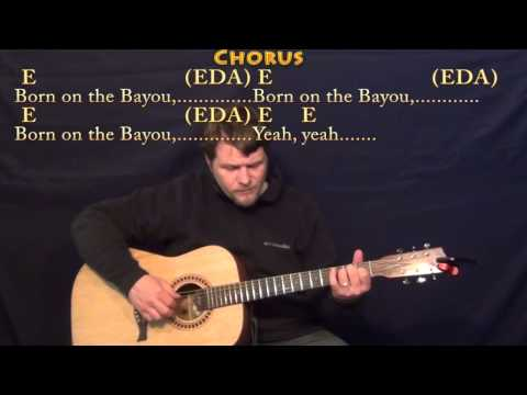 Born on the Bayou (CCR) Fingerstyle Guitar Cover Lesson with Lyrics/Chords