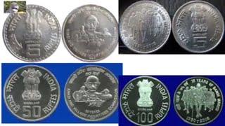 5 Rupees of 75 Years Of Dandhi March&Khadi Gramodyog 50 years of Khadi & Village Industries coins !!