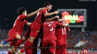 Vietnam enjoys longest active unbeaten streak in world football