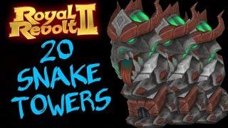 ROYAL REVOLT 2 - 20 MAX SNAKE TOWERS gameplay