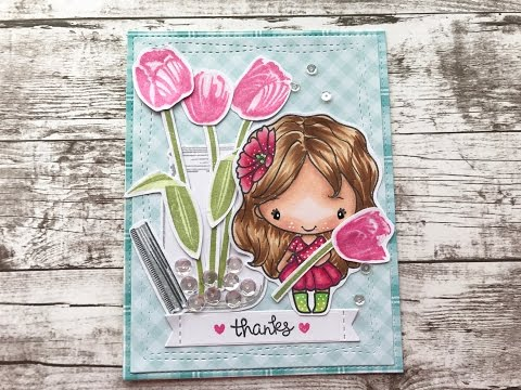 Spring Thank You Card Process Video Not2Shabby DT Project (SunnyStudioStamps & TheGreetingFarm)