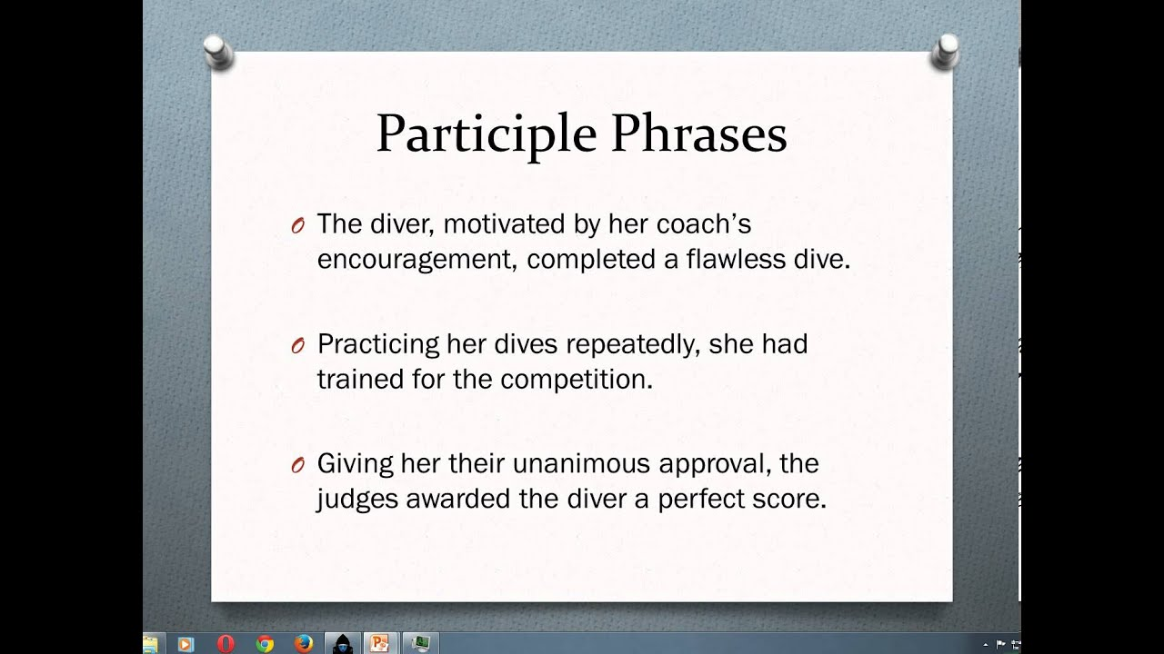 Participles And Participle Phrases Youtube