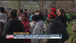 Hundreds light up during 4/20 rally in downtown Denver
