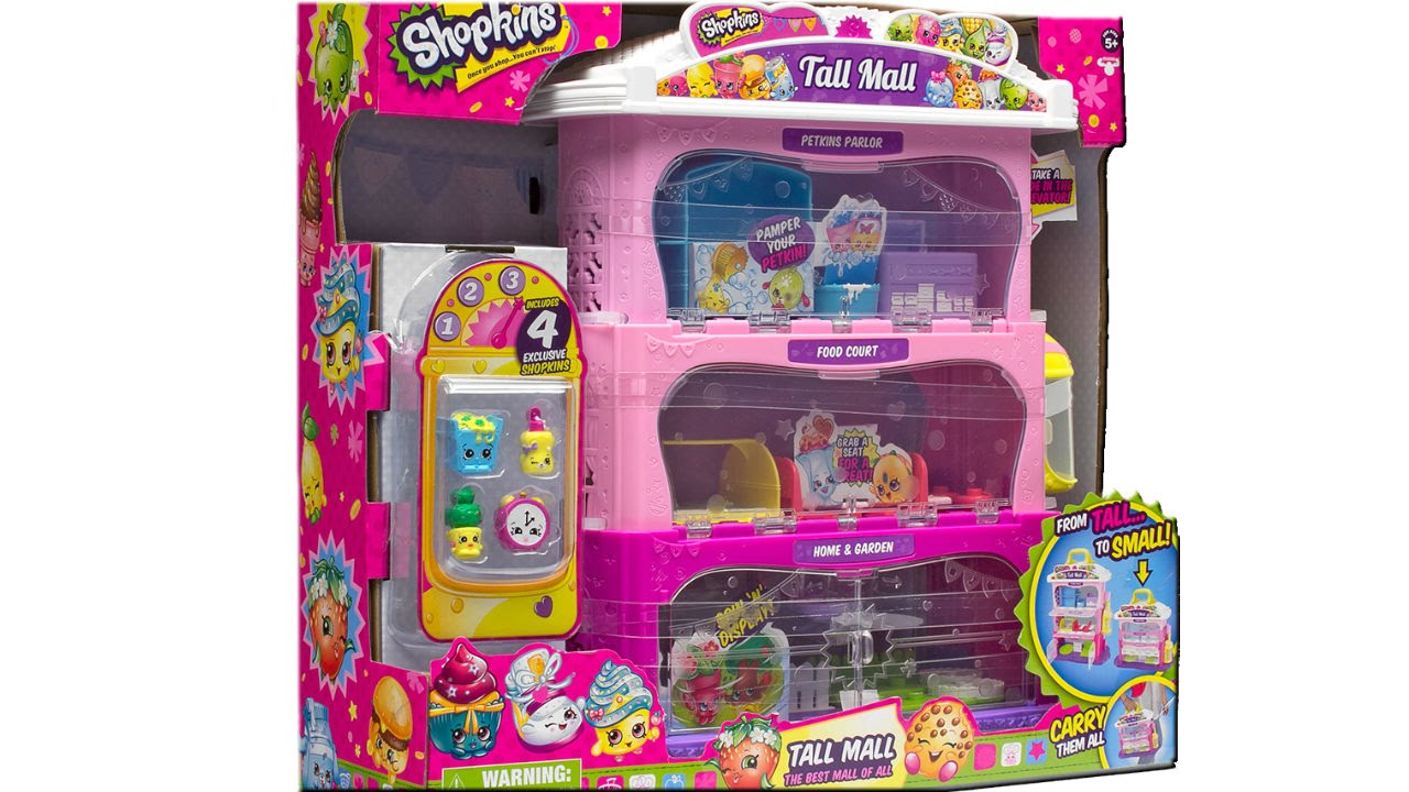Shopkins Tall Mall Playset Unboxing Review With 4 Exclusive Shopkins Youtube