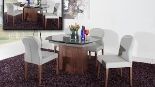 Swing Modern Round Extendable Walnut Dining Table
