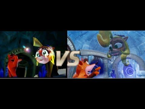Crash bandicoot Cortex and Coco's Hologram cutscene comparison