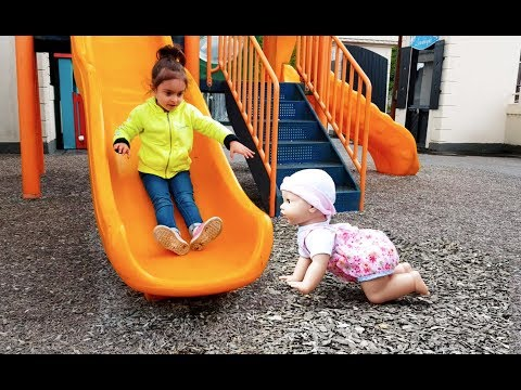 Thumbnail: Walking Baby Doll at Playground / Cry Baby Accident on Slide