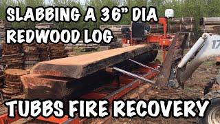 "WoodMizer LT15 Wide sawmill slabbing a 36"" dia Redwood log, recovered Tubbs Wildfire, Santa Rosa CA."