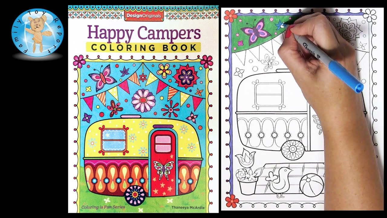 Design Originals Happy Campers Adult Coloring Book Thaneeya McArdle Speed Color