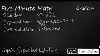 4th Grade Math Expanded Notation