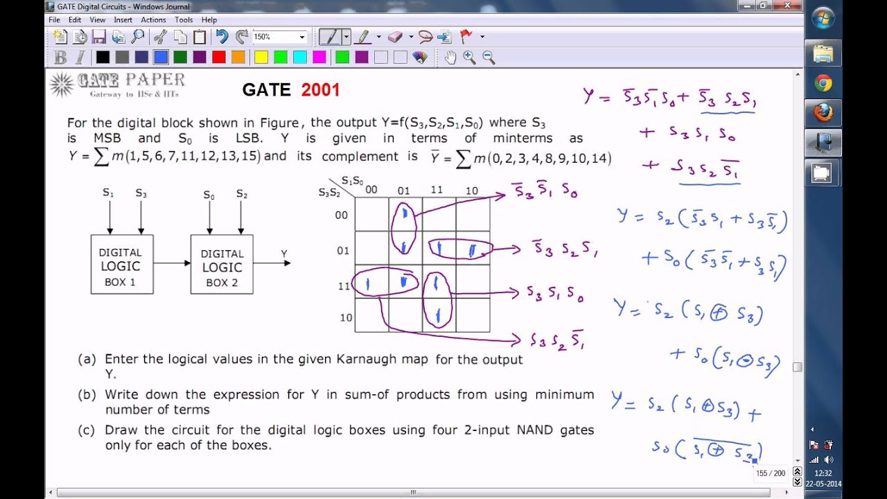 Gate 2001 Ece Minimized Sop Expression And Realization With 2 Input Logic Diagram Using Nand Gates Only Of Combinational Circ