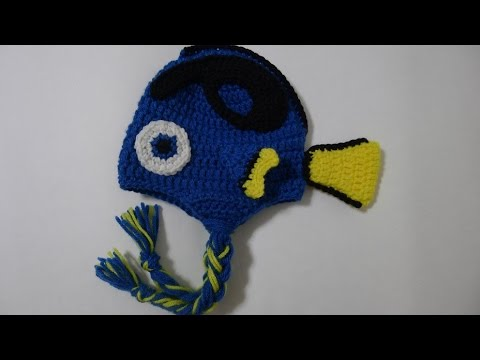 Crochet Blue Tang Fish Hat (Size 6/12 Months)