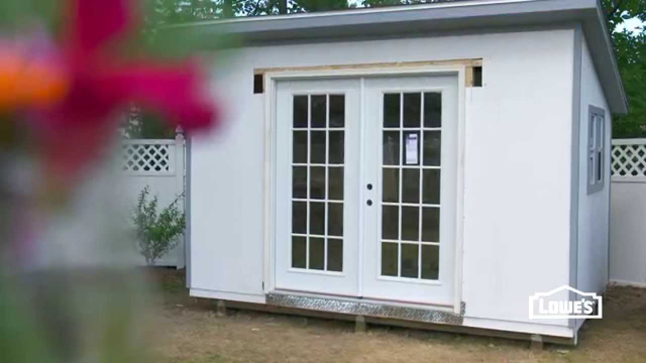 How to install french doors in a shed youtube - Installing prehung exterior door on concrete ...