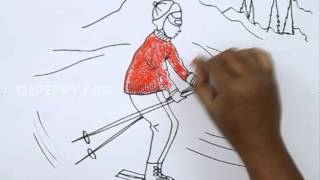 How to Draw a Downhill Skiing