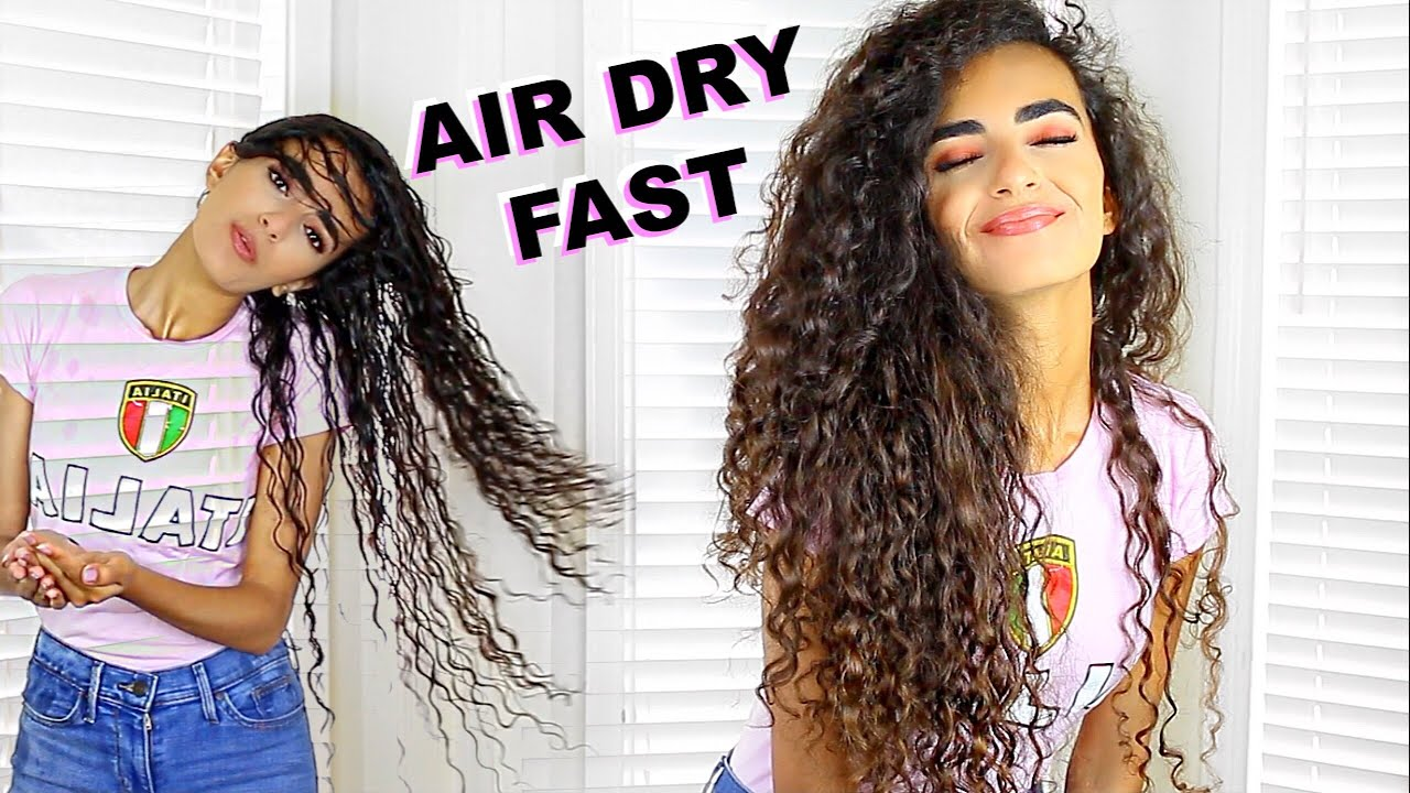 How I Air Dry My Long Curly Hair Super Fast Youtube